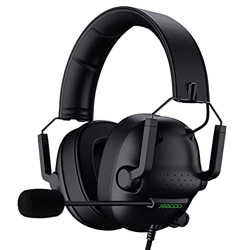 Jeecoo J50 Stereo Gaming Headset with Clear Microphone, Folding Gaming Headphones Lightweight Portable Compatible for PS4 PS5 Xbox One PC & Laptop Computer (Renewed)