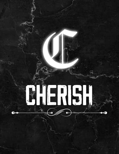 Cherish: Perfect Personalized Lined Notebook & Journal birthday gift idea with name for Cherish with Monogram Initial Capital Letter Cherish and ... Marble and White Light Neon Design (8.5x11)