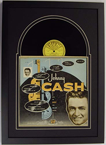 Record Album LP Frame Display Featuring Black (White Trim) Matting Juke Box Style Design and a Solid Wood Black Frame