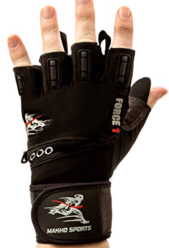 Makho Sports Force 1 Best Weightlifting Gloves- Fitness Gloves Wrist Wrap Support-Double Stitching-Extra Gel Padding-Gym Accessories for Men - Lifting Gloves & Power Lifting (Black, Medium)