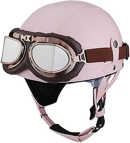 OOMEI Medio Casco de Moto Abierto,Casco Moto Jet Vintage Casco de Motocicleta para Hombres y Mujeres Retro Seguridad Ligera Eléctrico Casco Half-Helmet,ECE Homologado (Color : C, Size : S=54~56cm)