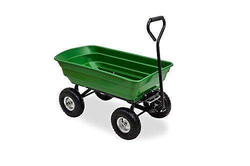 Carparts-Online 30402 Transport Garten Boller Wagen mit Kippfunktion und Lenkachse bis 75 kg Zuladung