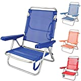 Silla Playa Plegable Ligera Evy Aluminio 80x62x50 cm. 4 Posiciones y 4 Colores (Azul)
