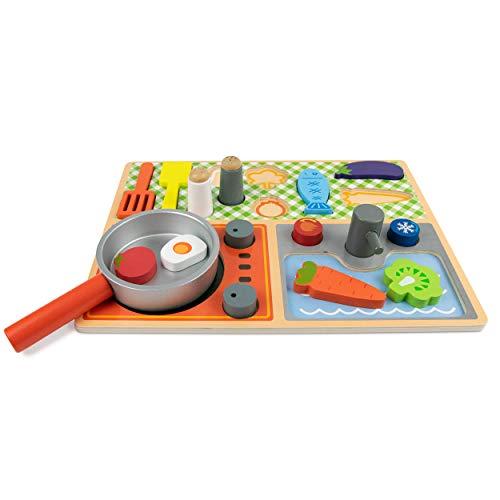Budding Bear Set Cocinitas de Juguetes - Portátil para Niños y Niñas de 3+ Años - Puzzle Cocina Madera Juguete - Juego de Rol con 16 Piezas + Tablero Comida Madera - Set Cocina de Juguete