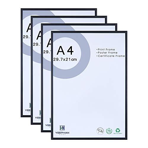 A4-Zertifikat-Fotorahmen - 21 x 30 cm große schwarze Aluminium-Bilderrahmen mit Plexiglas-Sicherheitsglasfront, freistehender und an der Wand montierbarer 4er-Pack