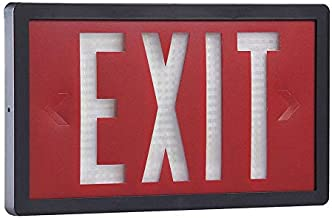 1 Face Self-Luminous Exit Sign, Red Background Color, Black Frame Color, 20 yr. Life Expectancy