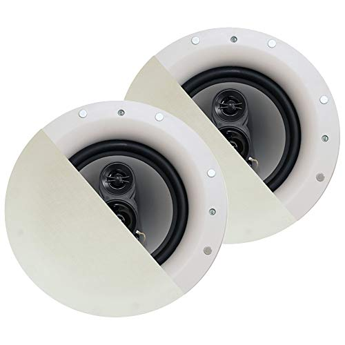 "Acoustic Audio by Goldwood CSic84 Frameless in Ceiling 8"" Speaker Pair 3 Way Home Theater Speakers, White"
