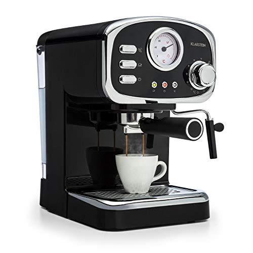 Klarstein Espressionata Gusto - Cafetera, Espresso, Diseño retro, 1100 W de potencia, Presión de 15 bares, Depósito de agua de 1,25 litros, Boquilla de vapor, Termómetro, Colador, Negro