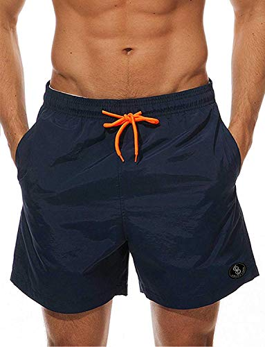 STARBILD Men's Quick Dry Beach Shorts Swim Trunks with Pockets Bathing Suits XL Navy Blue