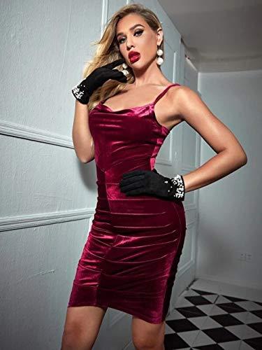 Dress Women Summer Wine Red Gold Velvet Bag Hip Sling Lápiz Sexy Backless Fold Nightclub-Borgoña_SG