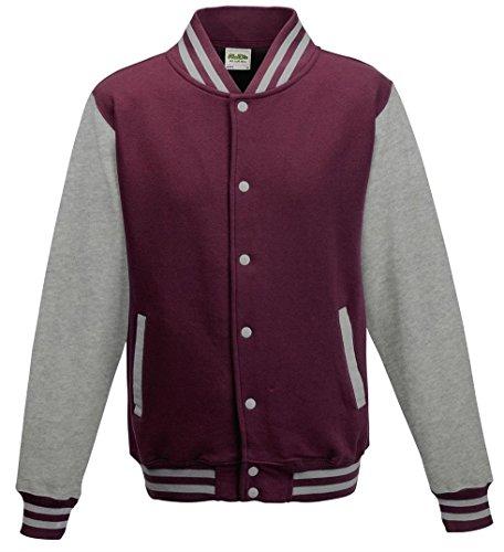 Awdis Unisex Varsity Jacket Large Burgundy/Heather Grey