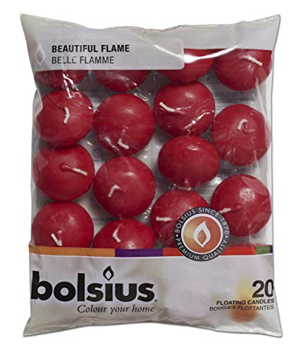 Bolsius Floating Candles in Bag Set of 20 Old Red