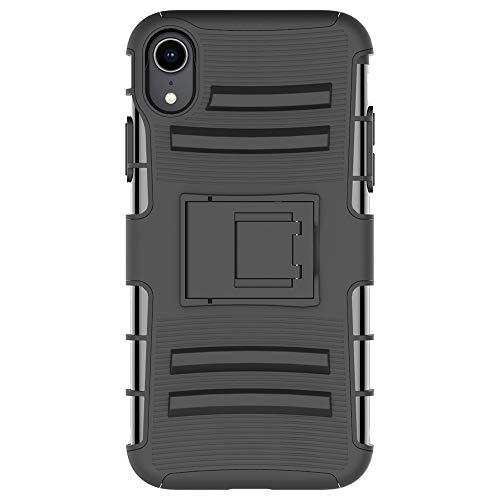 iPhone XR Stand Case, HLCT Rugged Shock Proof Dual-Layer Case with Built-in Kickstand (Black)