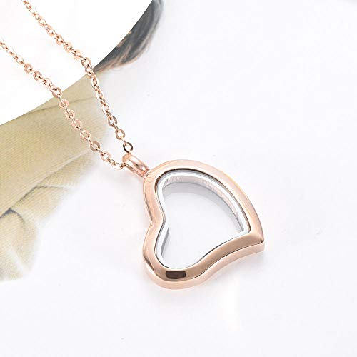 KXBY urnen hanger glazen hart urn hanger halsketting voor huisdieren - mensenas - feesten roestvrijstalen herinneringsurn halsketting houder @Rose Gold