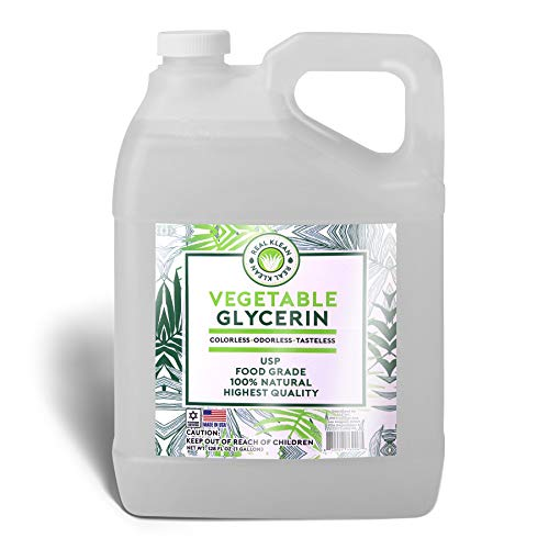 Vegetable Glycerin Food Grade, Kosher, 100% Natural, USP Grade - Premium Quality Colorless, Odorless & Tasteless - (1 Gallon) Excellent Emollient Qualities, Skin and Hair Benefits, DIY beauty products