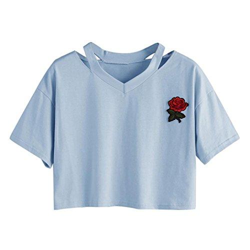 Goodsatar Mujer Rosa Manga Corta Casual Camiseta Mezcla