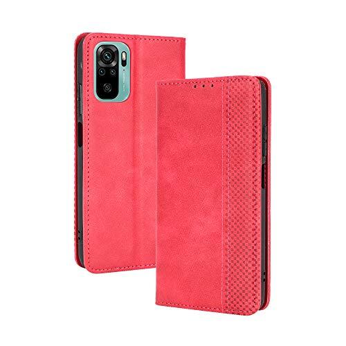 Dedux Flip Funda Con Xiaomi Redmi Note 10 (6.43') / Note 10S, Tapa Billetera Cuero Retro Cierre Magnético Folio Soporte Ranuras Para Tarjetas, Rojo