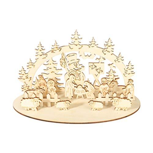 LIOOBO Ornamenti in Legno di Natale presepe Fai da Te Desktop Decorazione di Festival di Natale Regali per Ufficio Negozio a casa