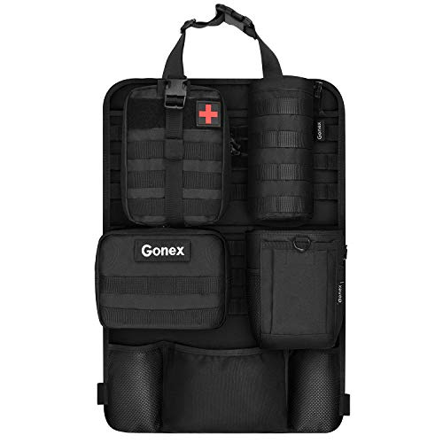 Gonex Car Seat Back Organizer with 4 Detachable Molle Pouch, Medical Pouch Admin Pouch Water Bottle Pouch Drawstring Bag, Upgrade Tactical Vehicle Panel Organizer Storage Bag with Multi-Pocket