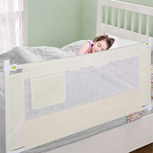 Extra Strong Bed Rail, Foldable Toddlers Safety Bed Rail Buckle with Dual Lock for Toddler Baby and Children, 1.8m Universal Adjustable Toddler Children Kids Sleeping Protective Bed Rail, Beige