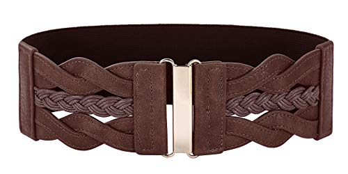 Women's Elastic Vintage Belt Stretchy Retro Wide Waist Cinch Belt(Coffee,M)
