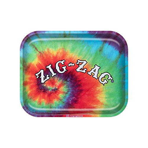Zig-Zag Rolling Papers - Small/Large Metal Rolling Tray - with Design - Essential Smoking Accessory (Tye Dye, Large)