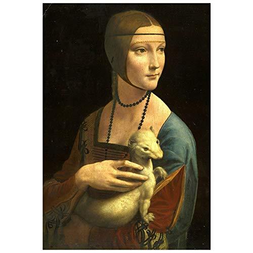 LegendArte Leonardo da Vinci La Dama con L'ermellino Stampa su Tela, cm. 60x80 - Quadro su Tela, Decorazione Parete