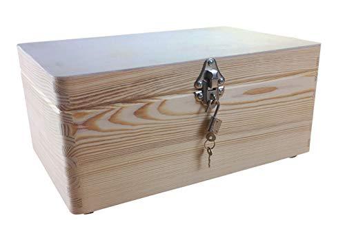 MidaCreativ abschließbare Aufbewahrungsbox/Holzkiste Gr. 1 Kiefer unbehandelt (Schloss 2-Silber)