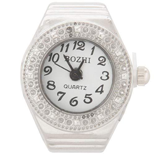 Senmubery Reloj de Anillo Cuarzo Aleacion Plateado Esfera Redonda para Mujer Moda