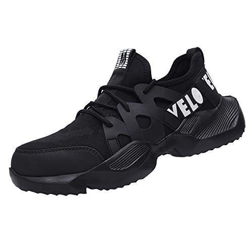 HMAKGG Zapatillas de Trabajo con Puntera de Acero Zapatos de Seguridad para Hombre Mujer Trabajo Calzado de Industrial y Deportiva Anti Pinchazo,Negro,37 EU