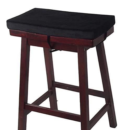 "Augld Rectangular Vanity Stool Cushion, Washable Non-Slip Bar Stool Cushion with Ties 11.8""x15.7"" Black"