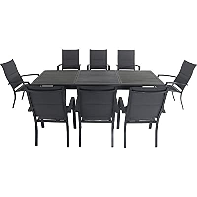 """Hanover CAMDN9PCHB-GRY Cameron 9-Piece Expandable 8 Padded Sling Chairs and a 40"""" x 94"""" Table Outdoor Dining Set"""