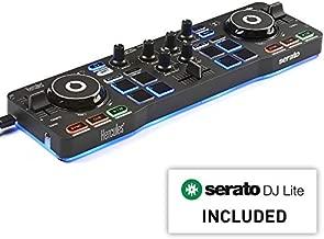 Hercules DJControl Starlight   Pocket USB DJ Controller with Serato DJ Lite, touch-sensitive jog wheels, built-in sound card and built-in light show
