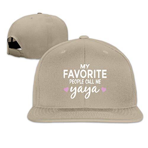 Lsjuee UnisexHats, Fashion My Favorite People Call Me Yaya Sombreros de ala Plana Ajustables de Hip Hop