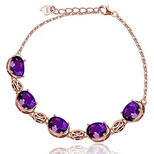 Uloveido Pulsera de cristal de amatista de cadena chapada en oro rosa para mujer, pulsera de eslabones de plata esterlina de piedra púrpura redonda 925 para niñas Regalo de cumpleaños de febrero FB057