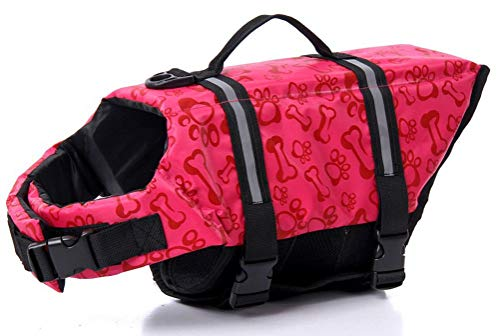ChezAbbey Dog Life Jacket Adjustable Dog Lifevest Swimsuit Safety Vest Apparel Lifesaver Coat for Small Large Cats Puppy Kitty with Handle Reflective for Swimming and Boating Pink Bone S