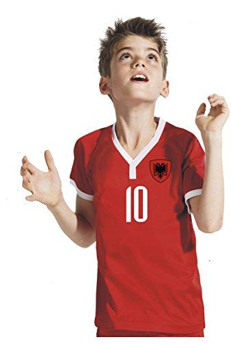 Aprom-Sports Albanien Kinder Trikot - Hose Stutzen inkl. Druck Wunschname + Nr. RSS WM 2018 (140)