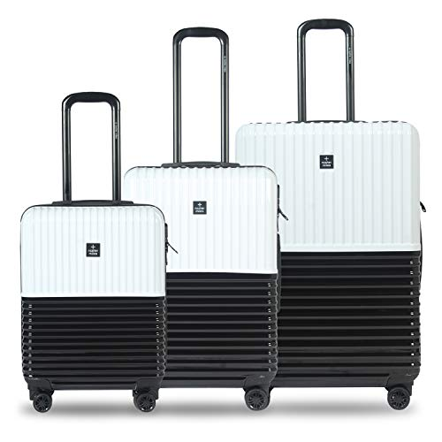 Nasher Miles Istanbul 20, 24, 28 Inch ,Set of 3, Hard-Sided, Polycarbonate Luggage, Black and White 55 , 65 and 75 cm Trolley Bag