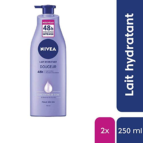 NIVEA Lait Hydratant Douceur 48h (1 x 250 ml),...