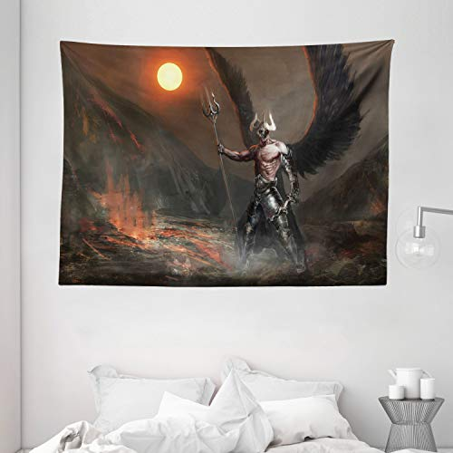 Ambesonne Fantasy World Tapestry, Knight with Wings Feathers Angel Devil Moon Fire Fantasy Night Illustration, Wall Hanging for Bedroom Living Room Dorm, 80' X 60', Brown Yellow
