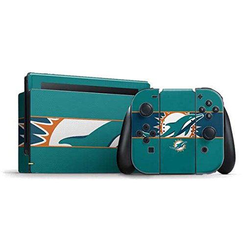 Skinit Decal Gaming Skin Compatible with Nintendo Switch Bundle - Officially Licensed NFL Miami Dolphins Zone Block Design