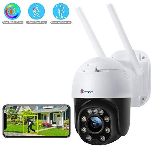 Überwachungskamera Aussen WLAN, Ctronics PTZ Dome WiFi Kamera, 1080P IP Kamera Kabellose mit Mensch Bewegungsmelder, 30m Nachtsicht in Farbe, IP66 Wasserdicht, 2-Wege-Audio, Automatisch Folge