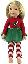 American Fashion World Candy Cane Tutu Dress Made for 14 inch Dolls Such as Wellie Wishers