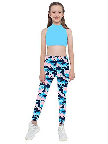 Kaerm Kinder Mädchen Camouflage Jogginganzug Jogging Army Trainingsanzug MILITÄR TARN Jogging Fitness Yoga Sportanzug Sport BH MIT Hose Set Gr. 98-176 Camouflage Blau 170-176
