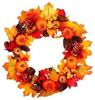 DZT1968 45cm Rattan Berry Maple Leaf Fall Door Wreath Door Wall Ornament Halloween Christmas-Brightens Front Door Decor with Rich Fall Colors|Vibrant & Beautiful (Orange)
