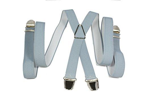 YEHMAN Bretelle fine X 2.5 cm à grosses pinces/clips de Fabrication française Homme Femme (Gris claire)