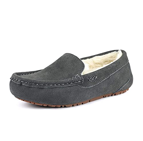 DREAM PAIRS Women's Auzy-01 Grey Faux Fur Moccasin Slippers 7.5-8 B(M) US