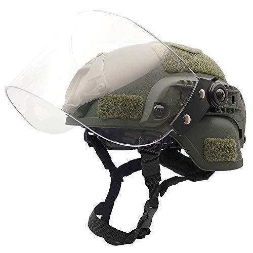 NICEWL Taktischer Helm Mit Schutzmaske - CS Transparenter Airsoft-Gesichtsschutz Police Military Paintball SWAT-Patrouillenschutzhelm, Transparente Visier-Gesichtsschutz-Gleitschiene,Green
