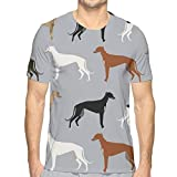 Greyhounds Cute Dog Rescue Dog Mejores Perros Cute Dog Best Dog Brindle Dogs_165 Moda para Hombre Cuello Redondo Diseño Manga Corta Slim Fit Casual T Shirt L