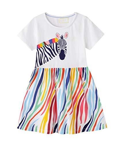 Nemopter - Vestido para niña de verano, de algodón, informal, con estampado de princesa para niña, playa, camiseta, vestido para bebé o niña, ropa blanco 2-3 Años